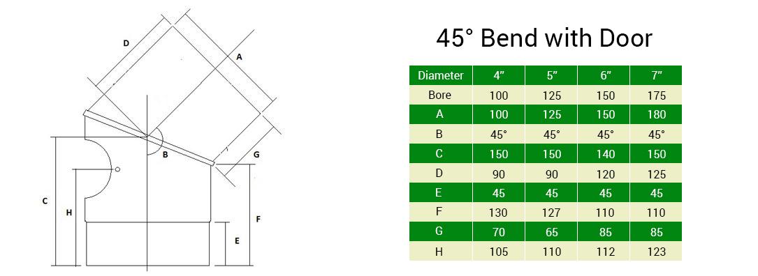 45 bend with door vitreous